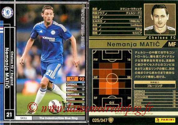 2015-16 - Panini WCCF - N° 025 - Nemanja MATIC (Chelsea FC)