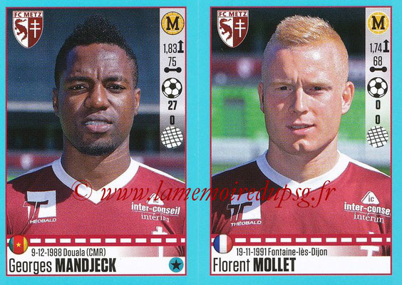 2016-17 - Panini Ligue 1 Stickers - N° 456 + 457 - Georges MANDJECK + Florent MOLLET (Metz)