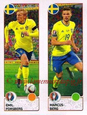 Panini Euro 2016 Stickers - N° 548 - Emil FORSBERG + Marcus BERG (Suède)