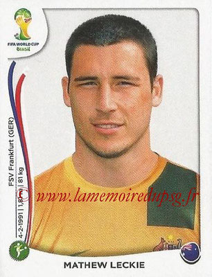 2014 - Panini FIFA World Cup Brazil Stickers - N° 182 - Mathew LECKIE (Australie)