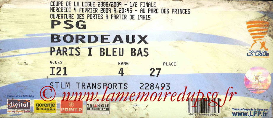 Tickets  PSG-Bordeaux  2008-09