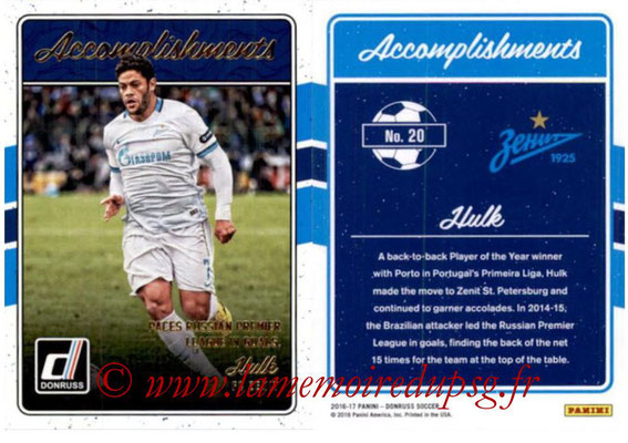 2016 - Panini Donruss Cards - N° A20 - HULK (FC Zenit) (Accomplishments)
