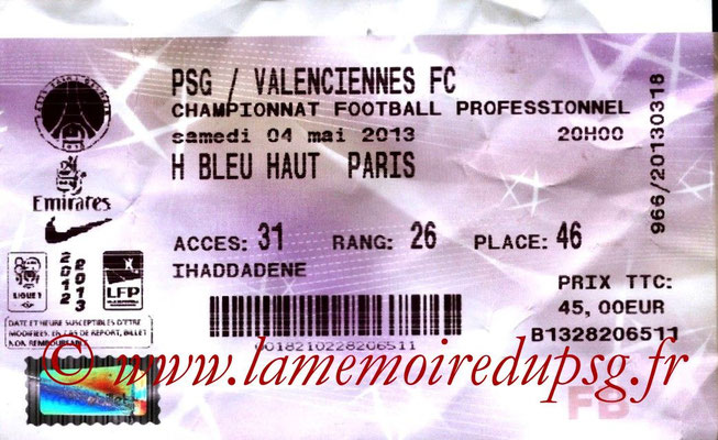 Tickets  PSG-Valenciennes  2012-13