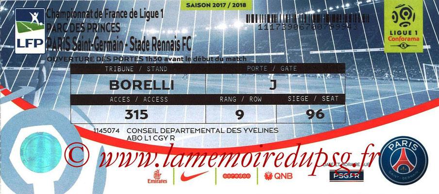 Tickets  PSG-Rennes  2017-18