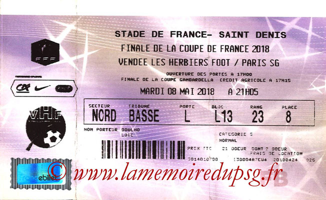 Tickets  Les Herbier-PSG  2017-18