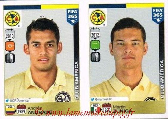 2015-16 - Panini FIFA 365 Stickers - N° 635-636 - Andrés ANDRADE + Martín ZUNIGA (Club America)
