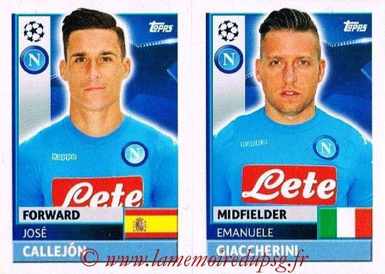 2016-17 - Topps UEFA Champions League Stickers - N° NAP 14-15 - Emanuele GIACCHERINI + José CALLEJON (SSC Naples)