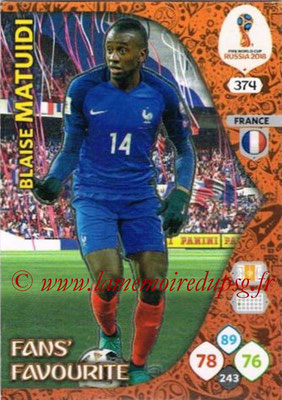 2018 - Panini FIFA World Cup Russia Adrenalyn XL - N° 374 - Blaise MATUIDI (France) (Fans' Favourite)