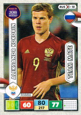 2018 - Panini Road to FIFA World Cup Russia Adrenalyn XL - N° RUS18 - Aleksandr KOKORIN (Russie)