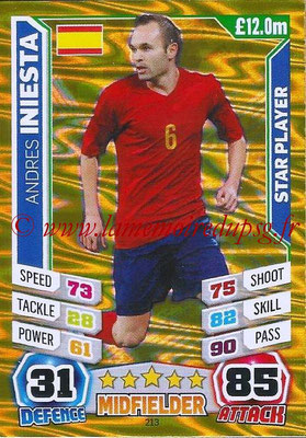 Topps Match Attax England 2014 - N° 213 - Andres INIESTA (Espagne) (Star Player)