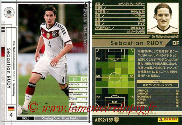 2015-16 - Panini WCCF - N° A092 - Sebastian RUDY (Allemagne)