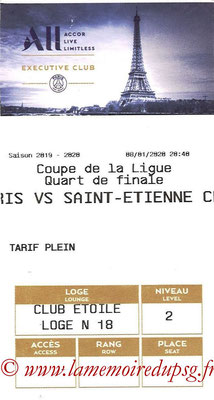 Tickets  PSG-Saint Etienne  2019-20