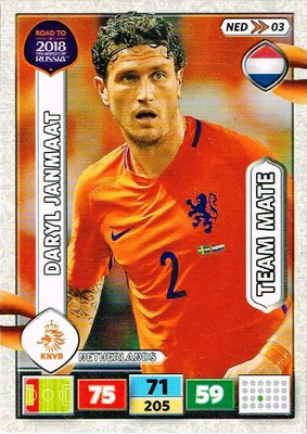 2018 - Panini Road to FIFA World Cup Russia Adrenalyn XL - N° NED03 - Daryl JANMAAT (Pays-Bas)