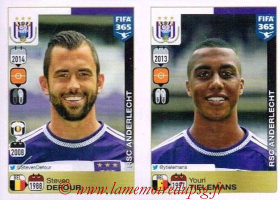 2015-16 - Panini FIFA 365 Stickers - N° 142-146 - Steven DEFOUR + Youri TIELEMANS (RSC Anderlecht)