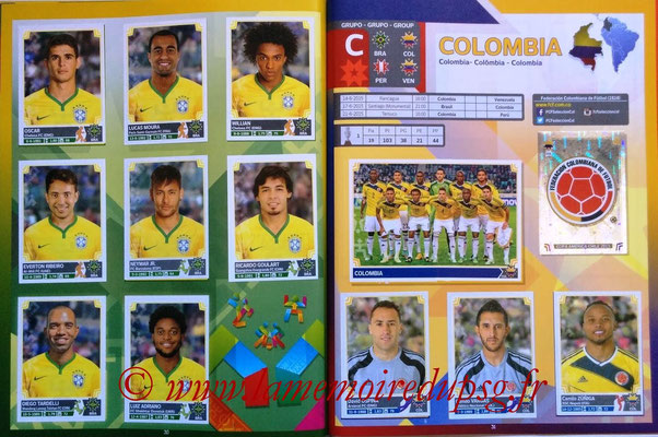 Panini Copa America Chile 2015 Stickers - Pages 30 et 31 - Brésil et Colombie