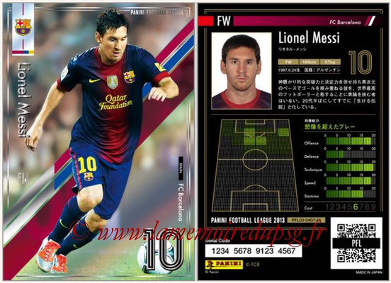 Panini Football League 2013 - PFL03 - N° 040 - Lionel Messi (FC Barcelone)
