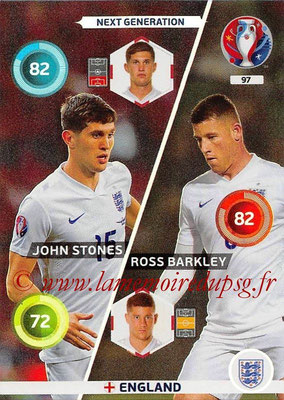 Panini Euro 2016 Cards - N° 097 - John STONES + Ross BARKLEY (Angleterre) (Next Generation)