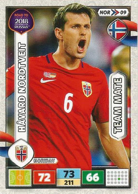 2018 - Panini Road to FIFA World Cup Russia Adrenalyn XL - N° NOR09 - Harvar NORDTVEIT (Norvège)