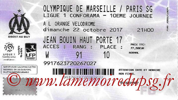 Tickets  Marseille-PSG  2017-18