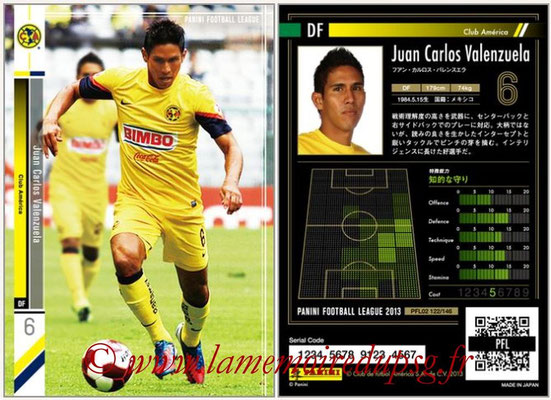 Panini Football League 2013 - PFL02 - N° 122 - Juan Carlos Valenzuela ( Club America )