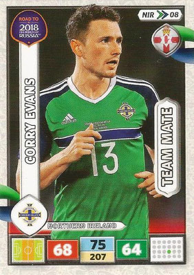 2018 - Panini Road to FIFA World Cup Russia Adrenalyn XL - N° NIR08 - Corry EVANS (Irlande du Nord) (UK Version)