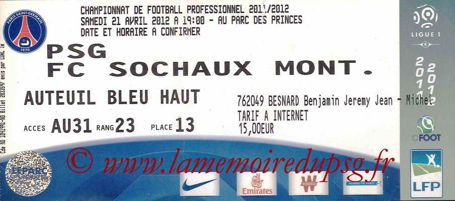 Tickets  PSG-Sochaux  2011-12