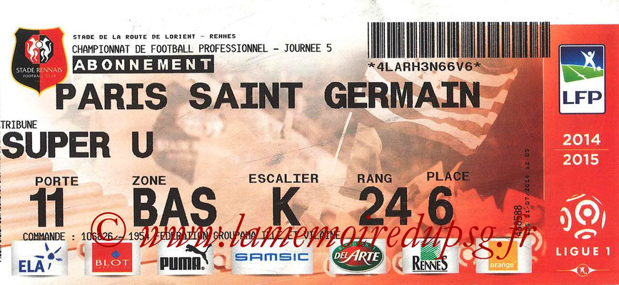 Tickets  Rennes-PSG  2014-15