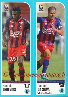 2016-17 - Panini Ligue 1 Stickers - N° 136 + 137 - Romain GENEVOIS + Damien DA SILVA (Caen)