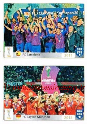2015-16 - Panini FIFA 365 Stickers - N° 025-026 - FC Barcelone (2011) + FC Bayern Munich (2013) (FIFA Club World Cup)