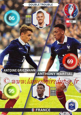 Panini Euro 2016 Cards - N° 132 - Antoine GRIEZMANN + Anthony MARTIAL (France)  (Double Trouble)