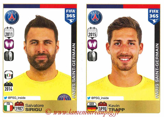 2015-16 - Panini FIFA 365 Stickers - N° 432-433 - Salvatore SIRIGU + Kevin TRAPP (Paris Saint-Germain)