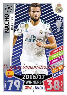 2017-18 - Topps UEFA Champions League Match Attax - N° 005 - NACHO (Real Madrid CF)