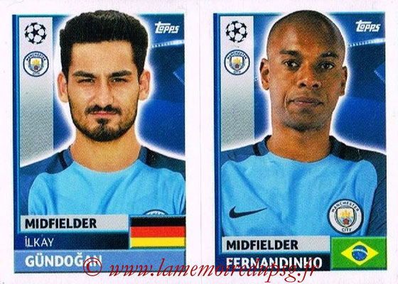 2016-17 - Topps UEFA Champions League Stickers - N° QFG 9-10 - FERNANDINHO + Ilkay GUNDOGAN (Manchester City FC)