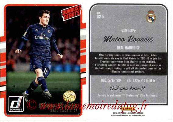 2016 - Panini Donruss Cards - N° 225 - Mateo KOVACEVIC (Real Madrid CF) (Donruss Debuts)