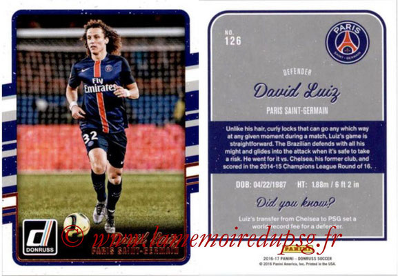 2016 - Panini Donruss Cards - N° 126 - David LUIZ (Paris Sant-Germain)