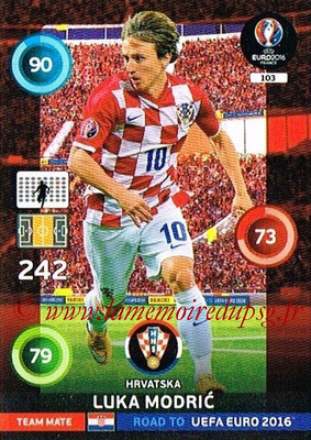 Panini Road to Euro 2016 Cards - N° 103 - Luka MODRIC (Croatie)