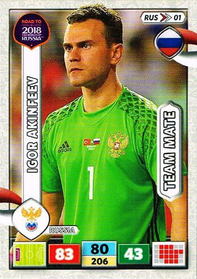 2018 - Panini Road to FIFA World Cup Russia Adrenalyn XL - N° RUS01 - Igor AKINFEEV (Russie)