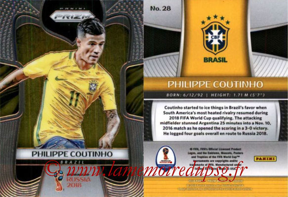 2018 - Panini Prizm FIFA World Cup Russia - N° 028 - Philippe COUTINHO (Bresil)