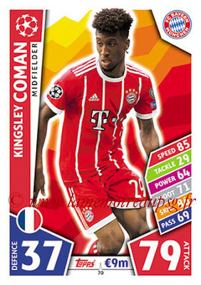 2017-18 - Topps UEFA Champions League Match Attax - N° 070 - Kingsley COMAN (FC Bayern Munich)