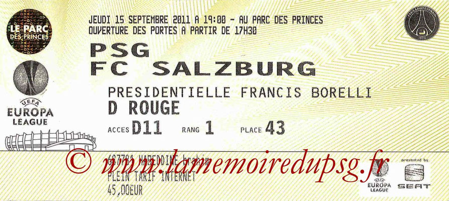 Tickets  PSG-Salszburg  2011-12