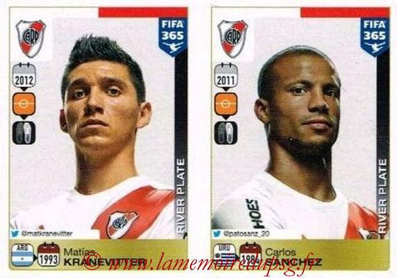 2015-16 - Panini FIFA 365 Stickers - N° 112-116 - Mathias KRANEVITTER + Carlos SANCHEZ (River Plate)