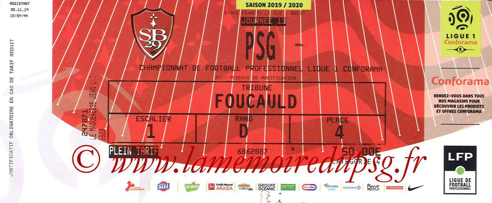 Ticket  Brest-PSG  2019-20