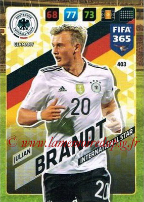 2017-18 - Panini FIFA 365 Cards - N° 403 - Julian BRANDT (Allemagne) (International Star)