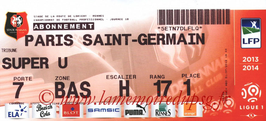 Tickets  Rennes-PSG  2013-14
