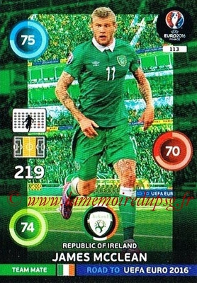 Panini Road to Euro 2016 Cards - N° 113 - James MC CLEAN (Eire)