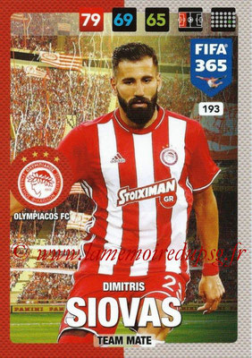 2016-17 - Panini Adrenalyn XL FIFA 365 - N° 193 - Dimitri SIOVAS (Olympiacos FC)