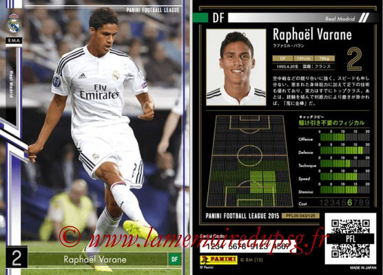 Panini Football League 2015 - PFL09 - N° 043 - Raphaël VARANE (Real Madrid)