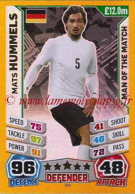 Topps Match Attax England 2014 - N° 252 - Mats HUMMELS (Allemagne) (Man Of The Match)