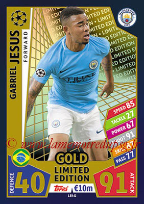 2017-18 - Topps UEFA Champions League Match Attax - N° LE4G - Gabriel JESUS (Manchester City FC) (Limited Edition Gold)