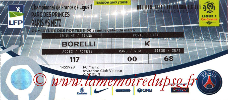 Tickets  PSG-Metz  2017-18